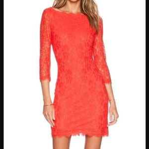 Diane VonFurstenberg Red Zarita Lace Dress